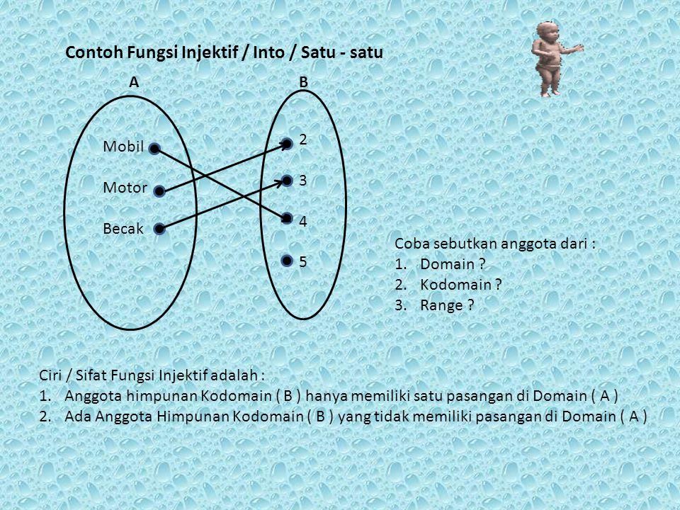 Mobil Motor Becak A 234234 B Sifat / Ciri Fungsi Bijektif atau korespondensi satu-satu adalah gabungan dari Fungsi Surjektif dan Fungsi Injektif Yaitu : 1.Setiap Anggota Kodomain ( B ) memiliki pasangan / Prapeta di Himpunan Asal / Domain ( A ) 2.Setiap anggota Kodomain ( B ) hanya memiliki satu pasangan / Prapeta di Himpunan Asal / Domain ( A ) Contoh Fungsi Bijektif / Korespondensi Satu - satu Coba sebutkan anggota dari : 1.Domain .