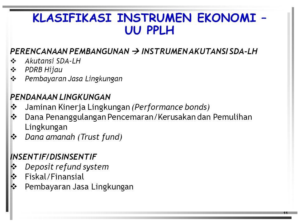 11 PERENCANAAN PEMBANGUNAN  INSTRUMEN AKUTANSI SDA-LH  Akutansi SDA-LH  PDRB Hijau  Pembayaran Jasa Lingkungan PENDANAAN LINGKUNGAN  Jaminan Kinerja Lingkungan (Performance bonds)  Dana Penanggulangan Pencemaran/Kerusakan dan Pemulihan Lingkungan  Dana amanah (Trust fund) INSENTIF/DISINSENTIF  Deposit refund system  Fiskal/Finansial  Pembayaran Jasa Lingkungan KLASIFIKASI INSTRUMEN EKONOMI – UU PPLH