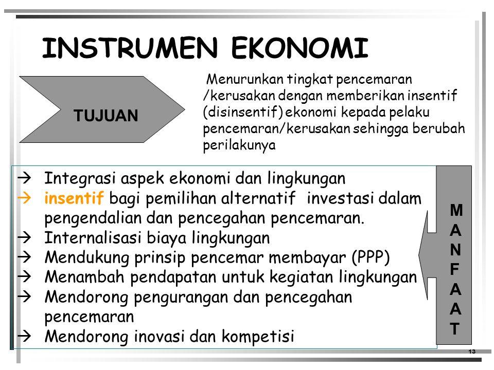13 INSTRUMEN EKONOMI Menurunkan tingkat pencemaran /kerusakan dengan memberikan insentif (disinsentif) ekonomi kepada pelaku pencemaran/kerusakan sehingga berubah perilakunya TUJUAN  Integrasi aspek ekonomi dan lingkungan  insentif bagi pemilihan alternatif investasi dalam pengendalian dan pencegahan pencemaran.