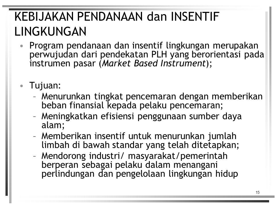 15 KEBIJAKAN PENDANAAN dan INSENTIF LINGKUNGAN Program pendanaan dan insentif lingkungan merupakan perwujudan dari pendekatan PLH yang berorientasi pada instrumen pasar (Market Based Instrument); Tujuan: –Menurunkan tingkat pencemaran dengan memberikan beban finansial kepada pelaku pencemaran; –Meningkatkan efisiensi penggunaan sumber daya alam; –Memberikan insentif untuk menurunkan jumlah limbah di bawah standar yang telah ditetapkan; –Mendorong industri/ masyarakat/pemerintah berperan sebagai pelaku dalam menangani perlindungan dan pengelolaan lingkungan hidup