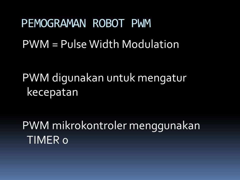 PWM = Pulse Width Modulation PWM digunakan untuk mengatur kecepatan PWM mikrokontroler menggunakan TIMER 0 PEMOGRAMAN ROBOT PWM