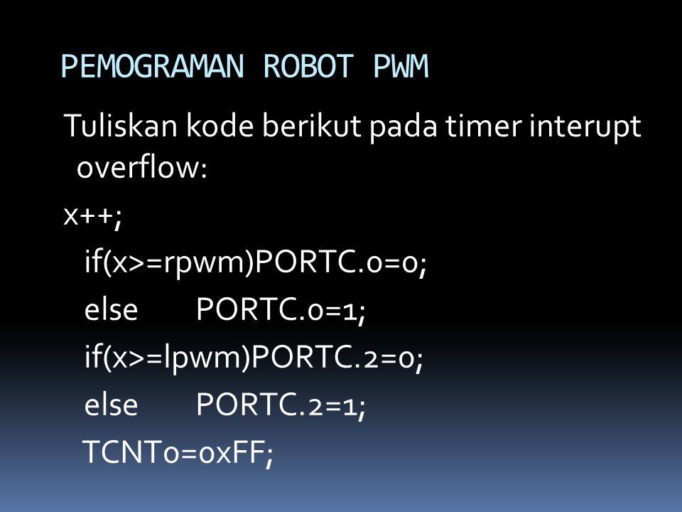 Tuliskan kode berikut pada timer interupt overflow: x++; if(x>=rpwm)PORTC.0=0; elsePORTC.0=1; if(x>=lpwm)PORTC.2=0; elsePORTC.2=1; TCNT0=0xFF; PEMOGRA