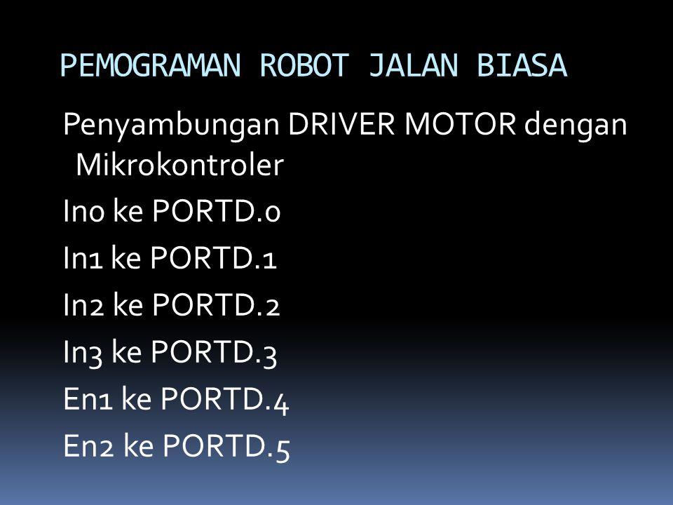 Penyambungan DRIVER MOTOR dengan Mikrokontroler In0 ke PORTD.0 In1 ke PORTD.1 In2 ke PORTD.2 In3 ke PORTD.3 En1 ke PORTD.4 En2 ke PORTD.5 PEMOGRAMAN R