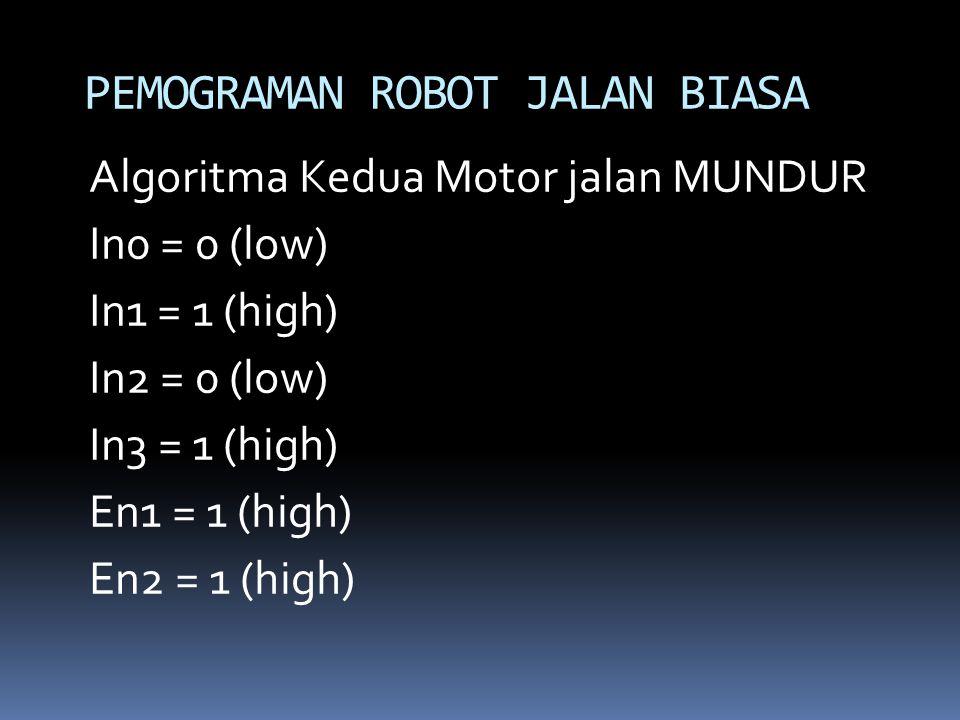 Algoritma Kedua Motor jalan MUNDUR In0 = 0 (low) In1 = 1 (high) In2 = 0 (low) In3 = 1 (high) En1 = 1 (high) En2 = 1 (high) PEMOGRAMAN ROBOT JALAN BIAS