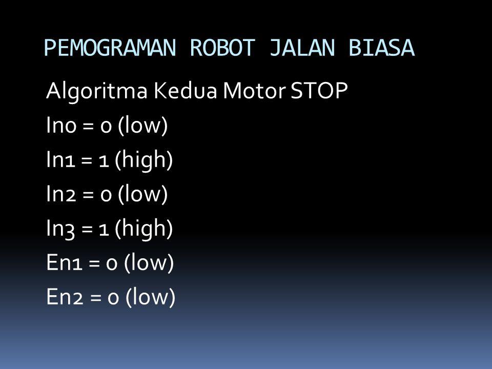 Algoritma Kedua Motor STOP In0 = 0 (low) In1 = 1 (high) In2 = 0 (low) In3 = 1 (high) En1 = 0 (low) En2 = 0 (low) PEMOGRAMAN ROBOT JALAN BIASA