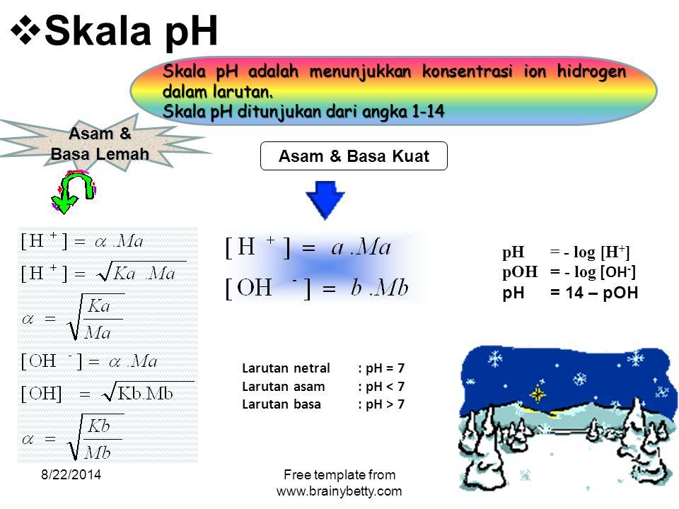  Skala pH 8/22/2014Free template from www.brainybetty.com Skala pH adalah menunjukkan konsentrasi ion hidrogen dalam larutan. Skala pH ditunjukan dar
