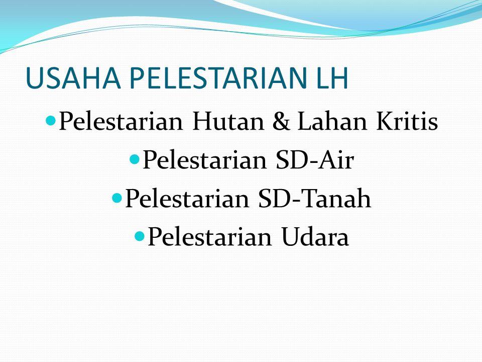 USAHA PELESTARIAN LH Pelestarian Hutan & Lahan Kritis Pelestarian SD-Air Pelestarian SD-Tanah Pelestarian Udara