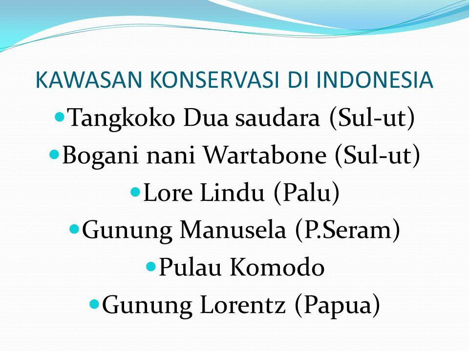 KAWASAN KONSERVASI DI INDONESIA Tangkoko Dua saudara (Sul-ut) Bogani nani Wartabone (Sul-ut) Lore Lindu (Palu) Gunung Manusela (P.Seram) Pulau Komodo Gunung Lorentz (Papua)