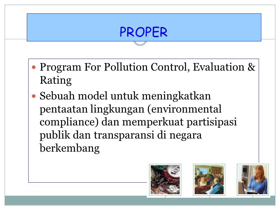 1. Perencanaan, meliputi Peraturan perundangan - Baku Mutu Lingkungan - Program Langit Biru dicanangkan 6 Agustus 1996 di Semarang - Prokasih - Proper