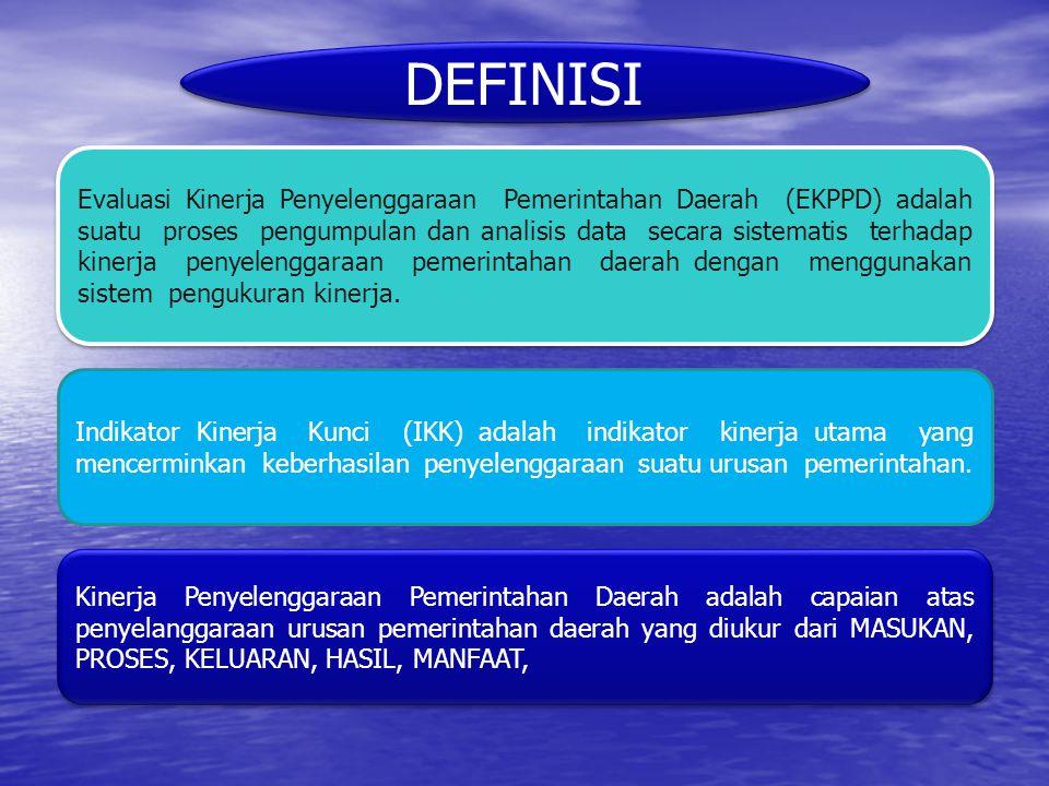 DEFINISI Evaluasi Kinerja Penyelenggaraan Pemerintahan Daerah (EKPPD) adalah suatu proses pengumpulan dan analisis data secara sistematis terhadap kin
