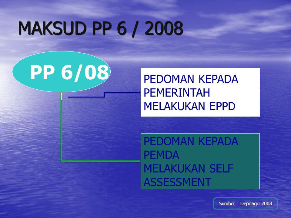 MAKSUD PP 6 / 2008 PP 6/08 PEDOMAN KEPADA PEMERINTAH MELAKUKAN EPPD PEDOMAN KEPADA PEMDA MELAKUKAN SELF ASSESSMENT Sumber : Depdagri 2008
