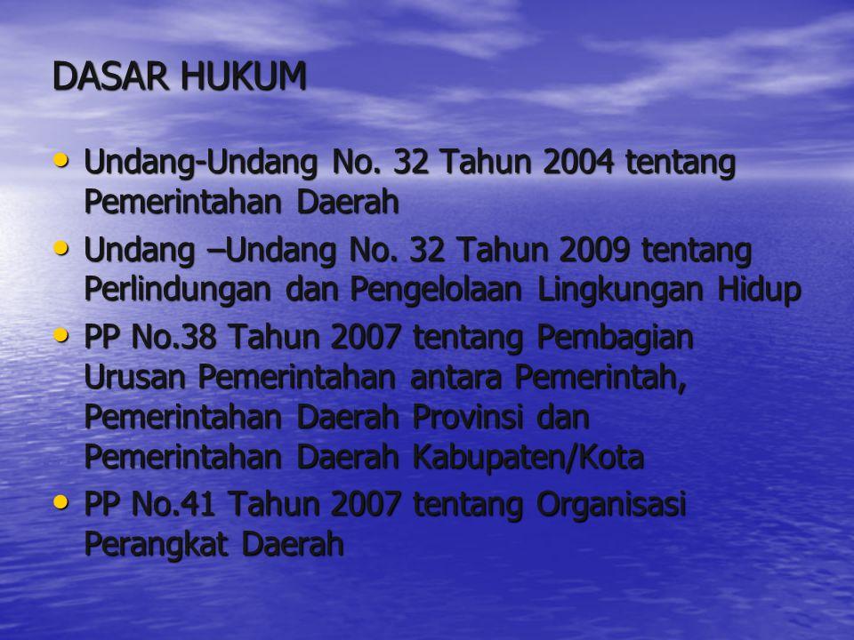 DASAR HUKUM Undang-Undang No. 32 Tahun 2004 tentang Pemerintahan Daerah Undang-Undang No. 32 Tahun 2004 tentang Pemerintahan Daerah Undang –Undang No.