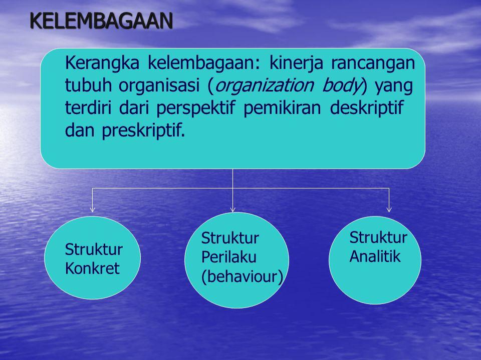 KELEMBAGAAN Kerangka kelembagaan: kinerja rancangan tubuh organisasi (organization body) yang terdiri dari perspektif pemikiran deskriptif dan preskri