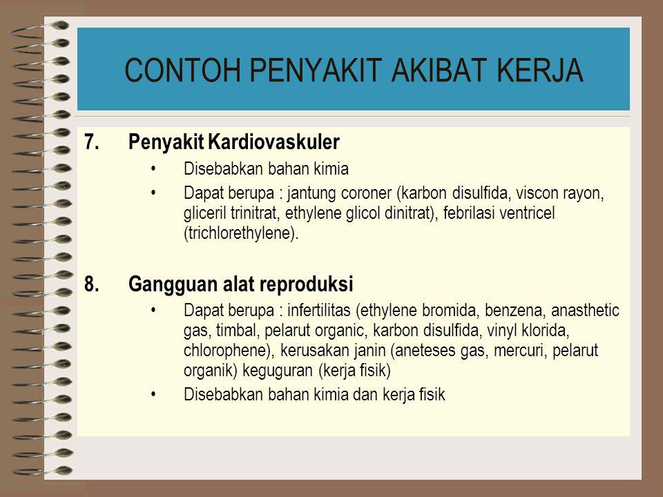CONTOH PENYAKIT AKIBAT KERJA 4.Penyakit Saluran Urogenital Dapat berupa : gagal ginjal(upa logam cadmium & merkuri,pelarut organik, pestisida, carbon