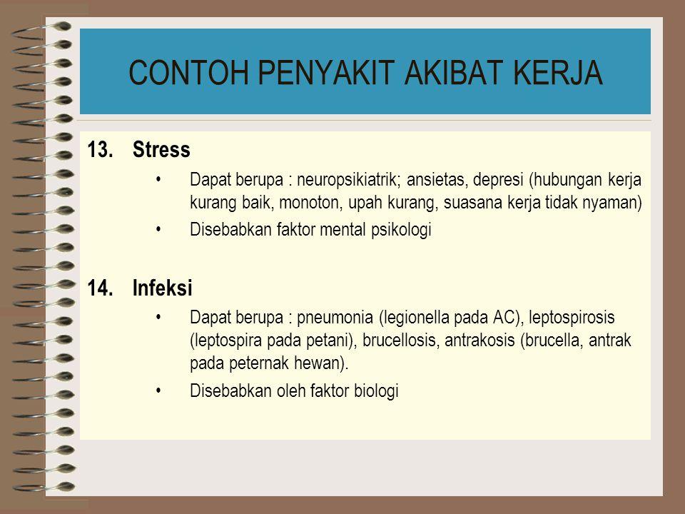 CONTOH PENYAKIT AKIBAT KERJA 11.Gangguan mata Dapat berupa : rasa sakit (penataan pencahayaan), conjungtivitis (sinar UV), katarak (infra merah), gata