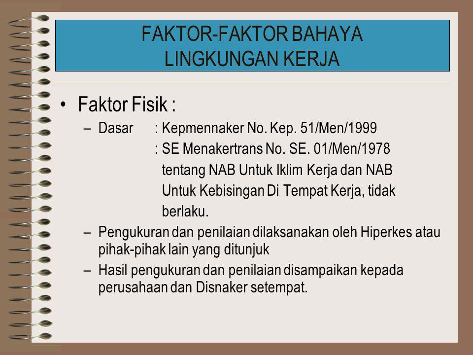 Faktor Fisik : –Dasar: Kepmennaker No.Kep. 51/Men/1999 : SE Menakertrans No.