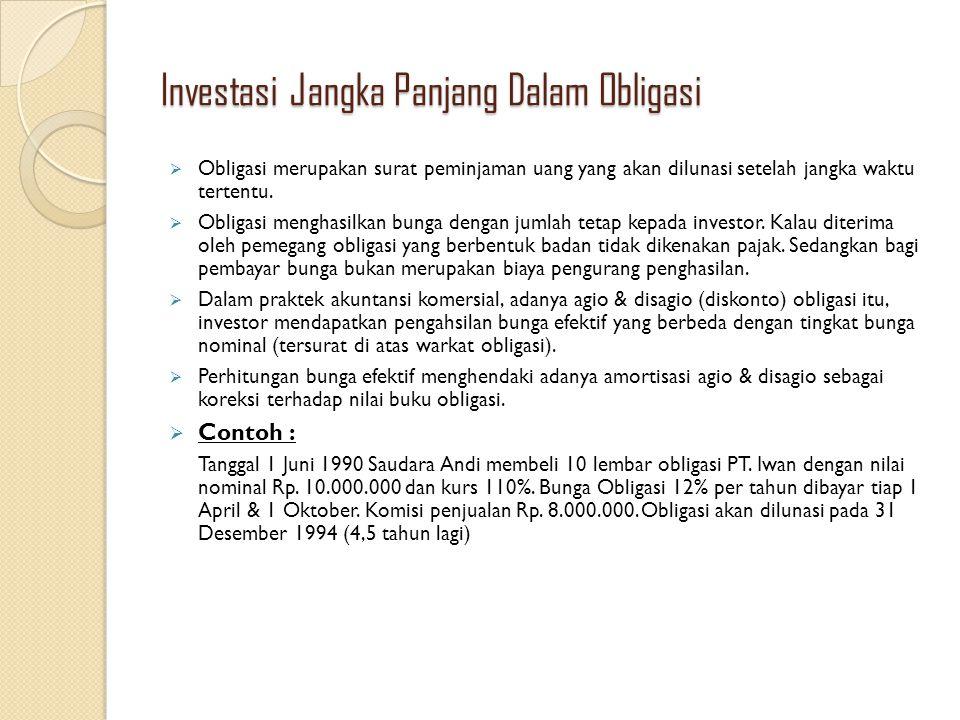 Investasi Jangka Panjang Dalam Obligasi  Obligasi merupakan surat peminjaman uang yang akan dilunasi setelah jangka waktu tertentu.