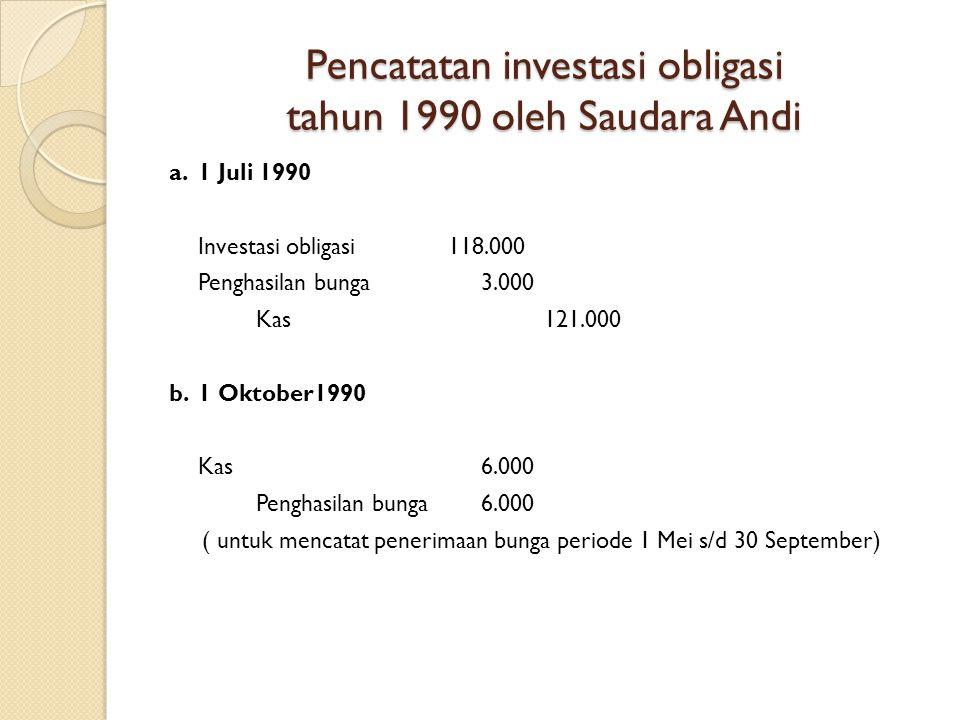 Pencatatan investasi obligasi tahun 1990 oleh Saudara Andi a. 1 Juli 1990 Investasi obligasi118.000 Penghasilan bunga 3.000 Kas121.000 b. 1 Oktober199