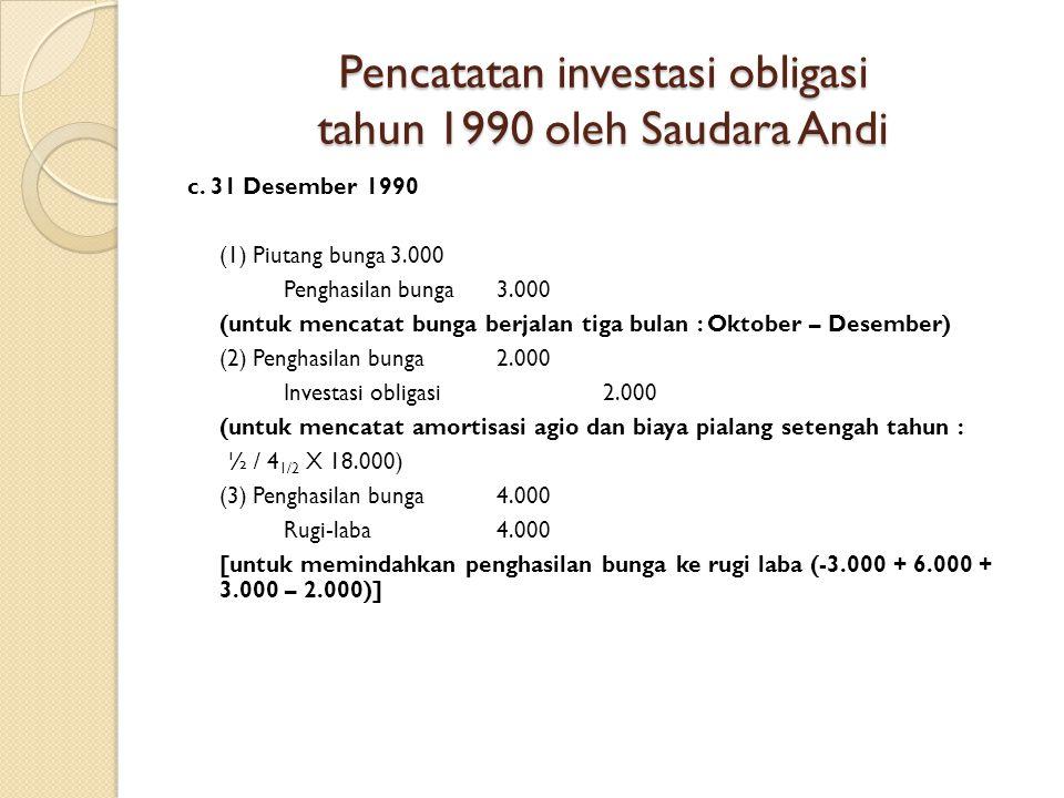 Pencatatan investasi obligasi tahun 1990 oleh Saudara Andi c.