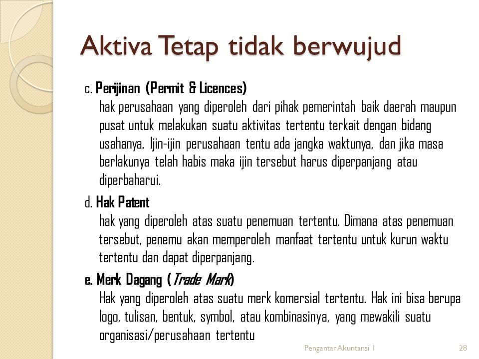 Aktiva Tetap tidak berwujud c. Perijinan (Permit & Licences) hak perusahaan yang diperoleh dari pihak pemerintah baik daerah maupun pusat untuk melaku