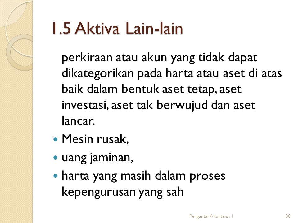 1.5 Aktiva Lain-lain perkiraan atau akun yang tidak dapat dikategorikan pada harta atau aset di atas baik dalam bentuk aset tetap, aset investasi, aset tak berwujud dan aset lancar.