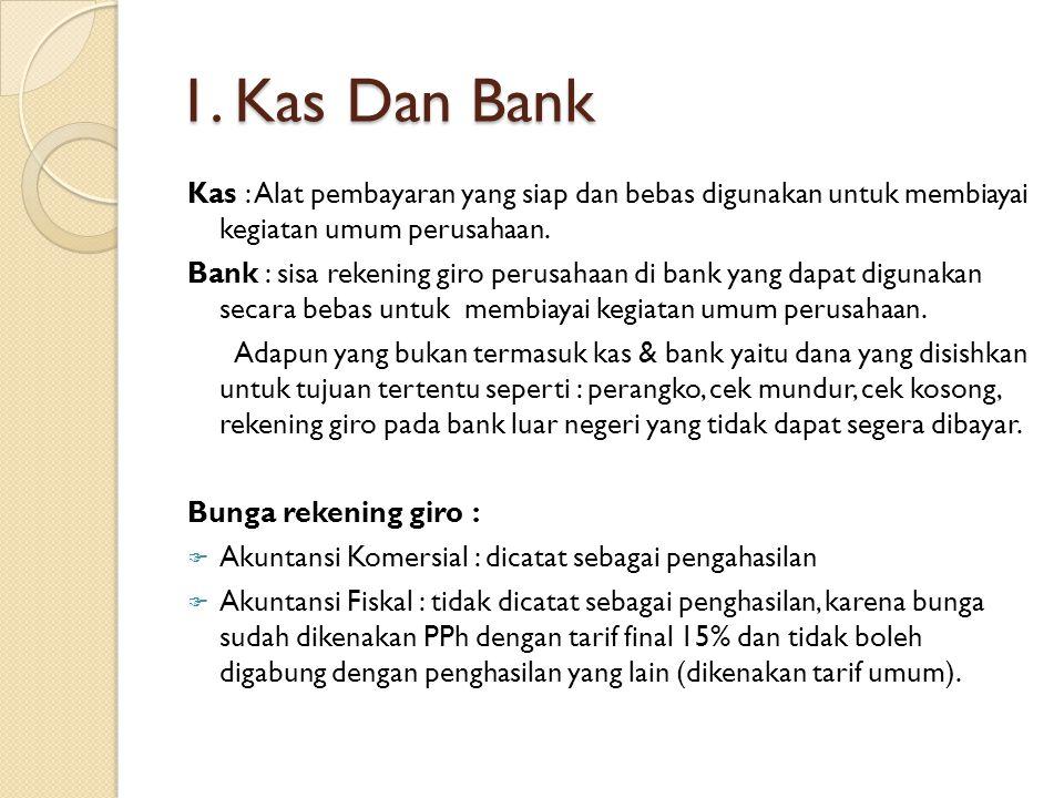 1. Kas Dan Bank Kas : Alat pembayaran yang siap dan bebas digunakan untuk membiayai kegiatan umum perusahaan. Bank : sisa rekening giro perusahaan di