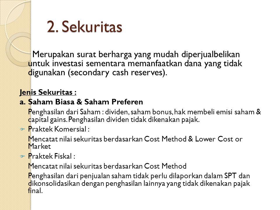 2. Sekuritas Merupakan surat berharga yang mudah diperjualbelikan untuk investasi sementara memanfaatkan dana yang tidak digunakan (secondary cash res