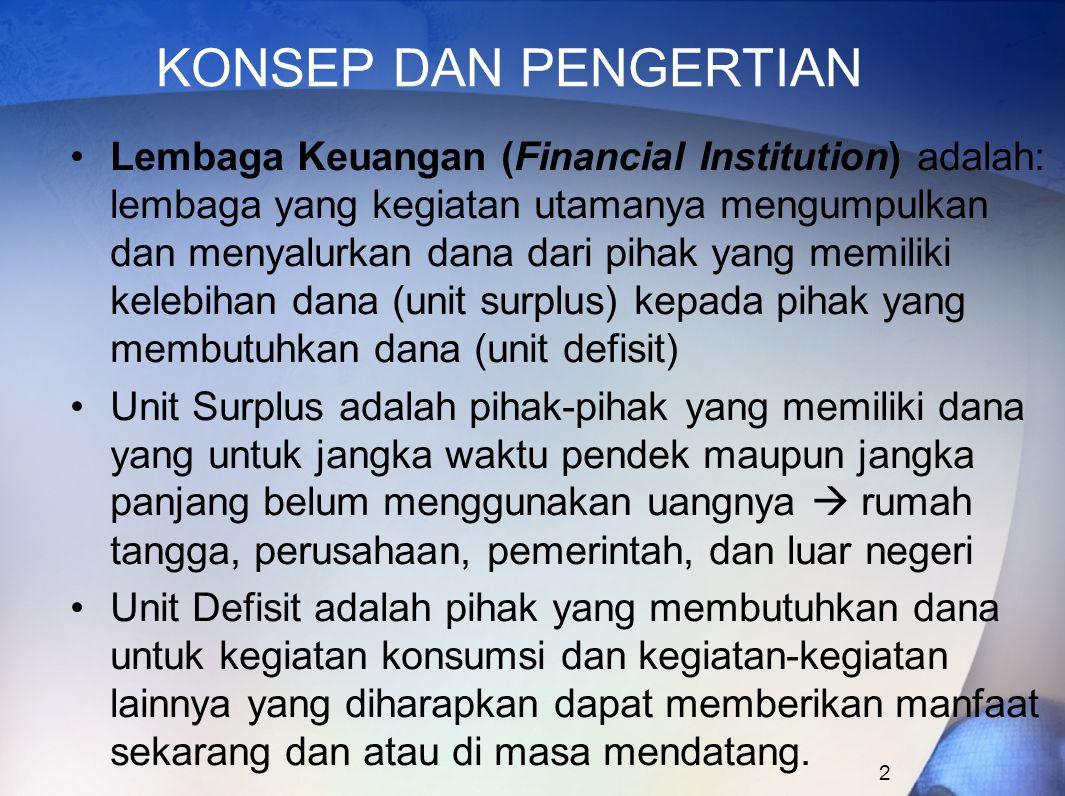 2 KONSEP DAN PENGERTIAN Lembaga Keuangan (Financial Institution) adalah: lembaga yang kegiatan utamanya mengumpulkan dan menyalurkan dana dari pihak y