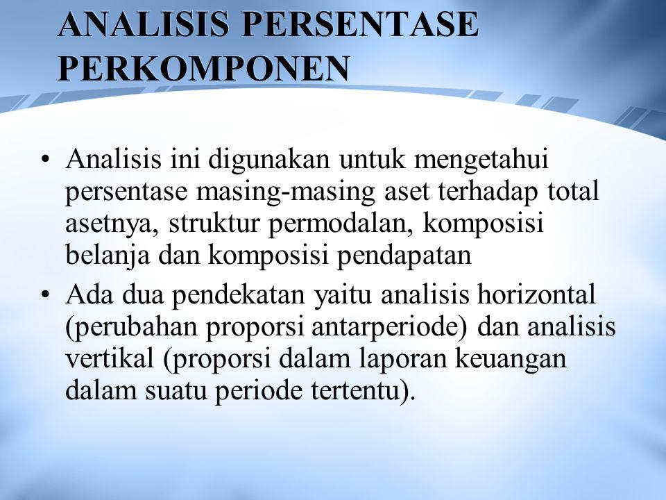 Analisis ini digunakan untuk mengetahui persentase masing-masing aset terhadap total asetnya, struktur permodalan, komposisi belanja dan komposisi pen