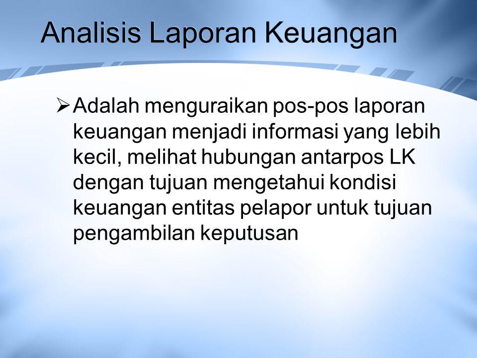 Analisis Laporan Keuangan  Adalah menguraikan pos-pos laporan keuangan menjadi informasi yang lebih kecil, melihat hubungan antarpos LK dengan tujuan