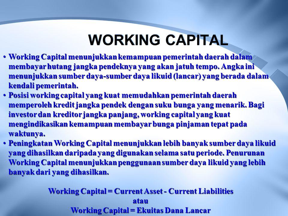 WORKING CAPITAL Working Capital menunjukkan kemampuan pemerintah daerah dalam membayar hutang jangka pendeknya yang akan jatuh tempo. Angka ini menunj