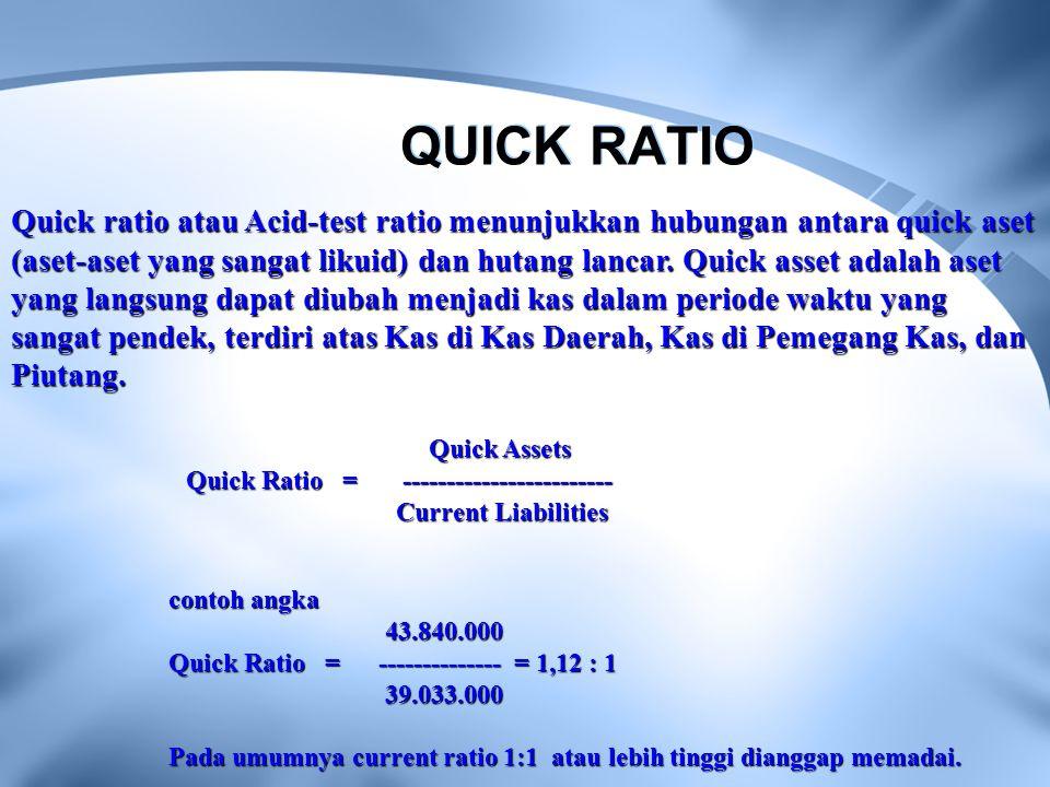 QUICK RATIO Quick ratio atau Acid-test ratio menunjukkan hubungan antara quick aset (aset-aset yang sangat likuid) dan hutang lancar. Quick asset adal