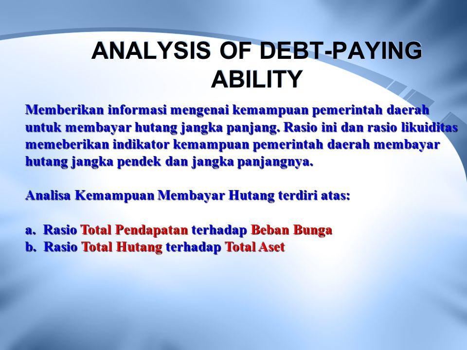 ANALYSIS OF DEBT-PAYING ABILITY Memberikan informasi mengenai kemampuan pemerintah daerah untuk membayar hutang jangka panjang. Rasio ini dan rasio li