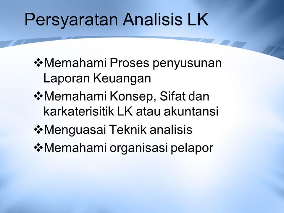 Persyaratan Analisis LK  Memahami Proses penyusunan Laporan Keuangan  Memahami Konsep, Sifat dan karkaterisitik LK atau akuntansi  Menguasai Teknik