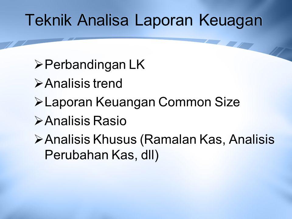 Teknik Analisa Laporan Keuagan  Perbandingan LK  Analisis trend  Laporan Keuangan Common Size  Analisis Rasio  Analisis Khusus (Ramalan Kas, Anal