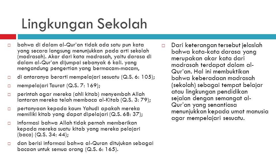 Lingkungan Sekolah  bahwa di dalam al-Qur'an tidak ada satu pun kata yang secara langsung menunjukkan pada arti sekolah (madrasah). Akar dari kata ma