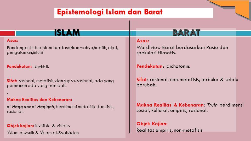 Epistemologi Islam dan Barat Asas: Pandangan hidup Islam berdasarkan wahyu,hadith, akal, pengalaman,intuisi Pendekatan: Tawhidi. Sifat: rasional, meta