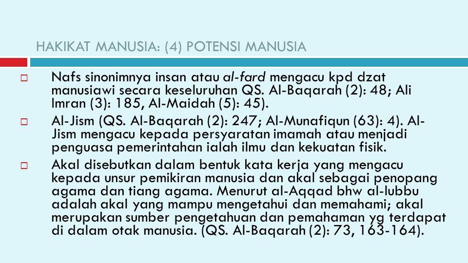 HAKIKAT MANUSIA: (4) POTENSI MANUSIA  Nafs sinonimnya insan atau al-fard mengacu kpd dzat manusiawi secara keseluruhan QS. Al-Baqarah (2): 48; Ali Im