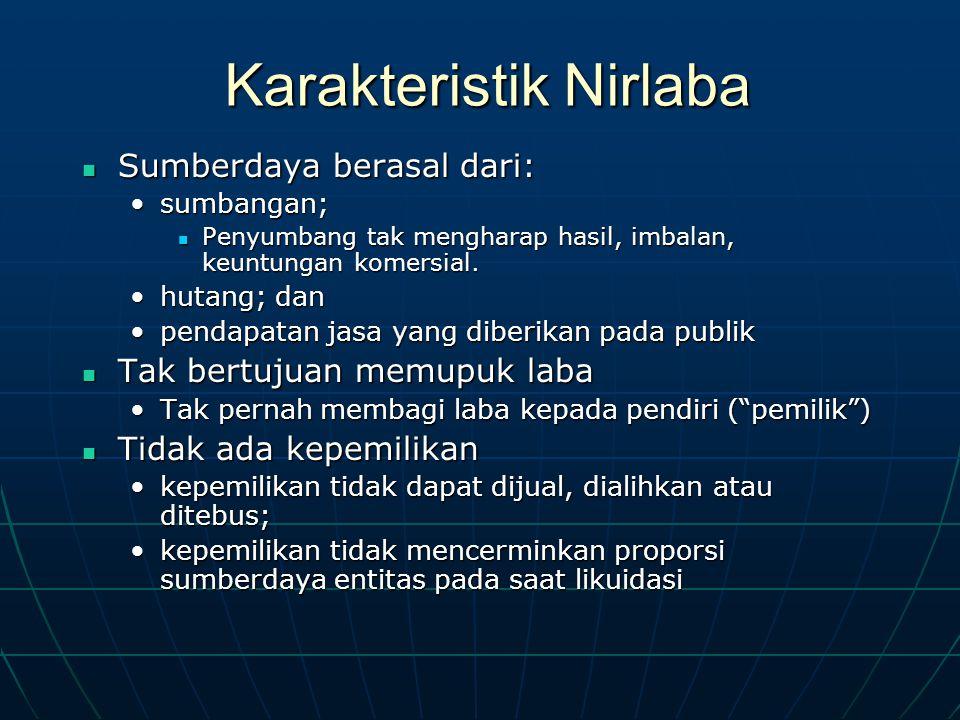 Karakteristik Nirlaba Sumberdaya berasal dari: Sumberdaya berasal dari: sumbangan;sumbangan; Penyumbang tak mengharap hasil, imbalan, keuntungan komersial.