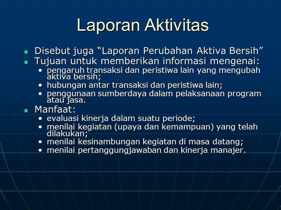 """Laporan Aktivitas Disebut juga """"Laporan Perubahan Aktiva Bersih"""" Disebut juga """"Laporan Perubahan Aktiva Bersih"""" Tujuan untuk memberikan informasi meng"""