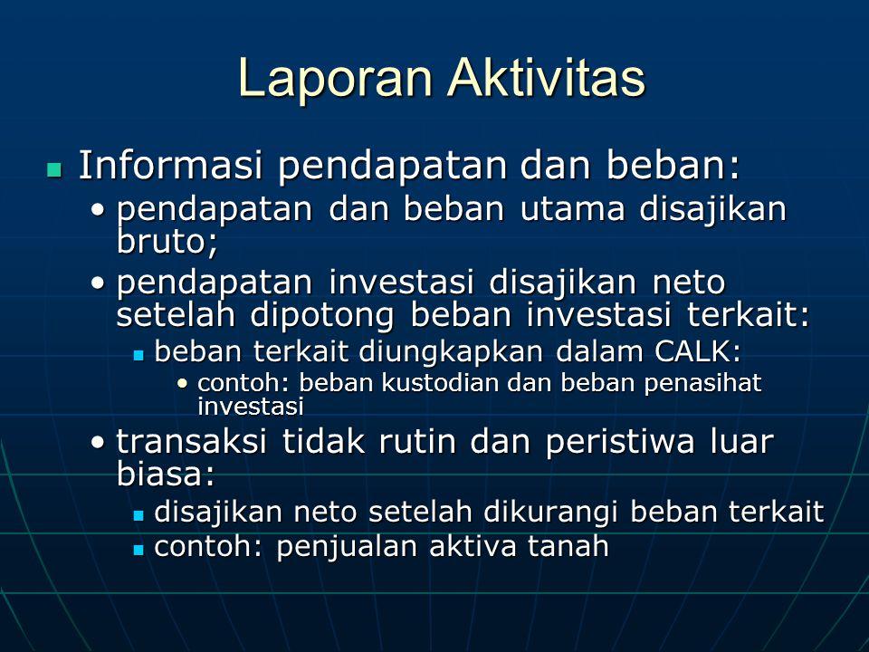 Laporan Aktivitas Informasi pendapatan dan beban: Informasi pendapatan dan beban: pendapatan dan beban utama disajikan bruto;pendapatan dan beban utam