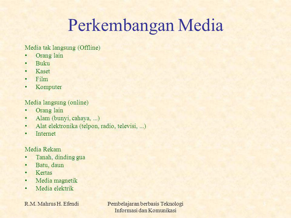 4 Perkembangan Media dlm Pembelajaran AlatOfflineOnline Teks Buku, majalah, surat kabar, jurnal E-book, e-magazine, e- news, e-journal SuaraTape player/recorderRadio, telepon Photo, gambar, teksSlide projector Film, suara, teks Film projector Video player/recorder Televisi MultimediaKomputerInternet
