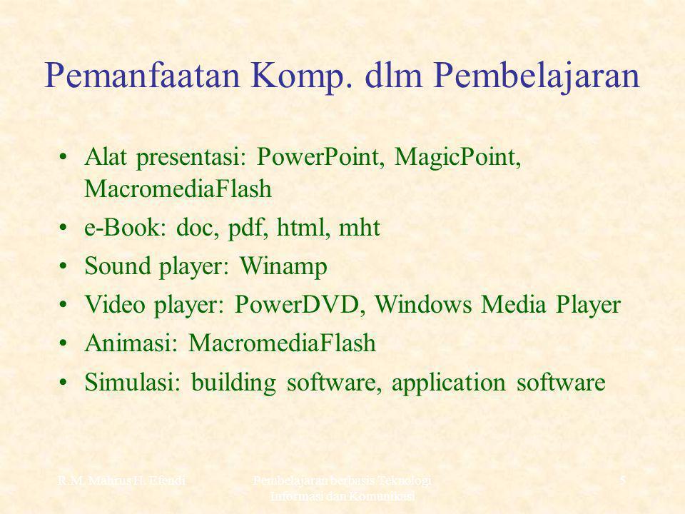 R.M. Mahrus H. EfendiPembelajaran berbasis Teknologi Informasi dan Komunikasi 5 Pemanfaatan Komp.