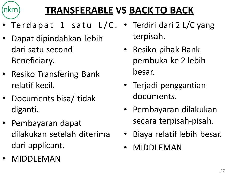 ALASAN DIBUKANYA BACK TO BACK L/C LETTERS OF CREDIT YANG DITERIMA TIDAK TRANSFERABLE.