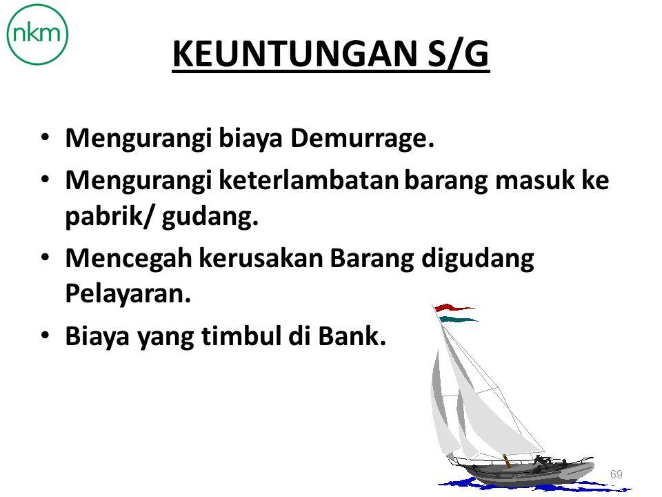 SHIPPING GUARANTEE Non Cash Fasilitas turut menjamin dari pihak Bank yang ditujukan kepada pihak Perusahaan Pelayaran untuk mengganti kerugian dan menjamin perusahaan pelayaran tersebut atas pelepasan barang - barang tanpa menunjukan B/L asli. 68