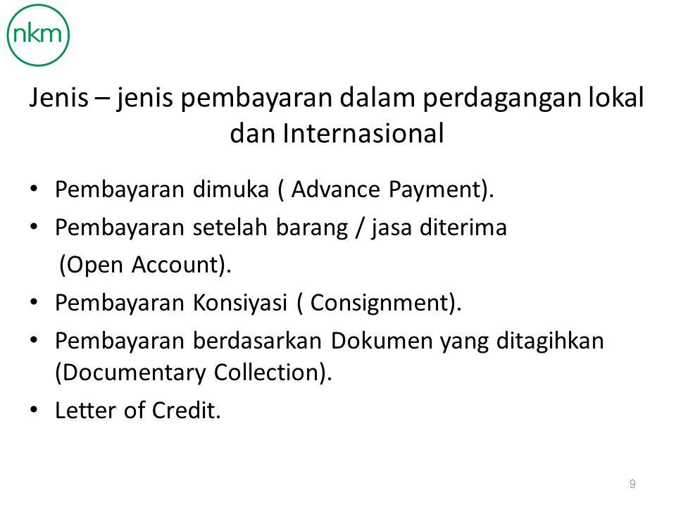 Jenis – jenis pembayaran dalam perdagangan lokal dan Internasional Pembayaran dimuka ( Advance Payment).