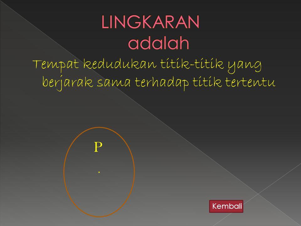 Tempat kedudukan titik-titik yang berjarak sama terhadap titik tertentu P. Kembali