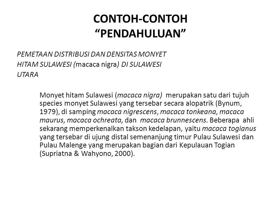 PEMETAAN DISTRIBUSI DAN DENSITAS MONYET HITAM SULAWESI (macaca nigra) DI SULAWESI UTARA Monyet hitam Sulawesi (macaca nigra) merupakan satu dari tujuh