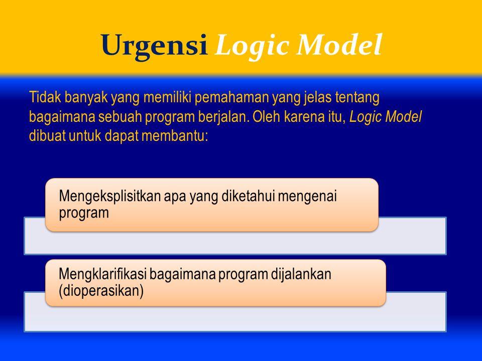 Urgensi Logic Model Tidak banyak yang memiliki pemahaman yang jelas tentang bagaimana sebuah program berjalan. Oleh karena itu, Logic Model dibuat unt