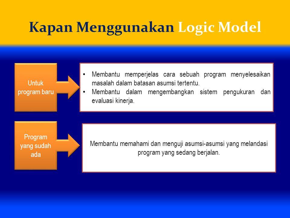 Kapan Menggunakan Logic Model Membantu memperjelas cara sebuah program menyelesaikan masalah dalam batasan asumsi tertentu. Membantu dalam mengembangk